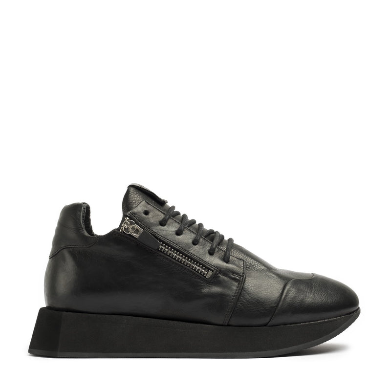Hexagon Black Top Laced Sneakers