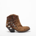 Ashley 3 Buckles texan Boot suede and natural vacchetta leather brown