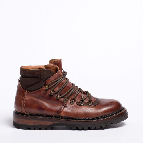 Raff Laced Mid Shoes Natural Horse leather terra