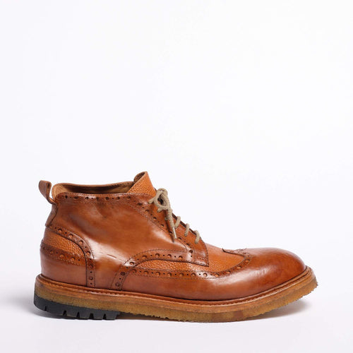 Ian Laced Mid Shoes Natural Vacchetta leather cuoio