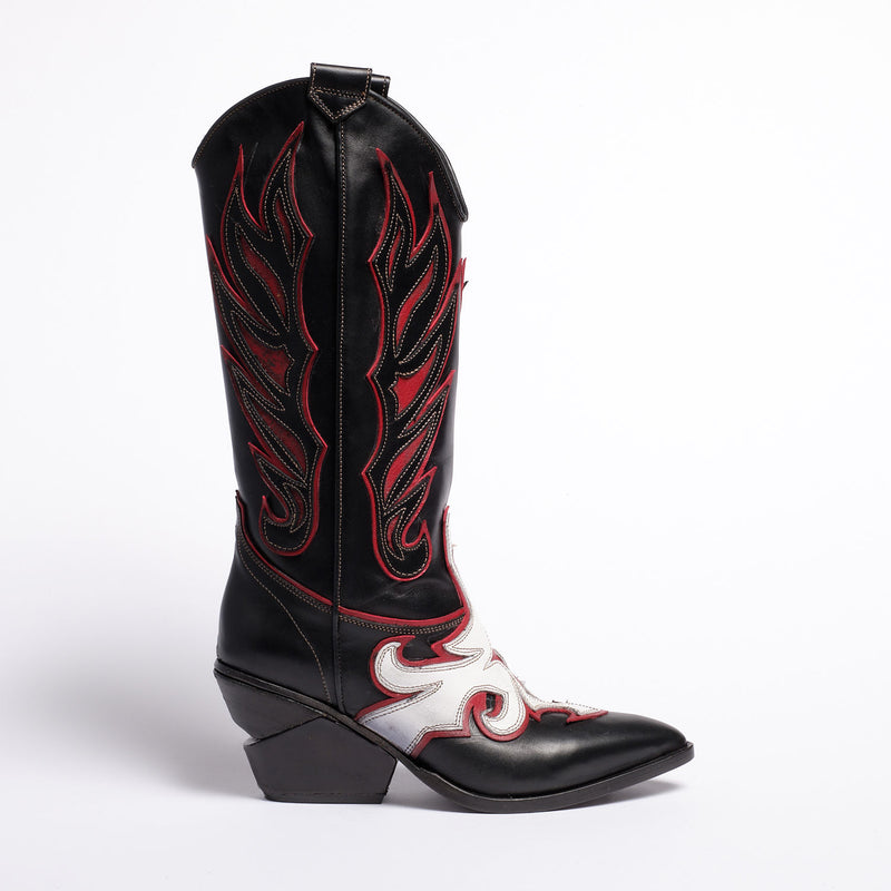 Fiona Texan high boot Soft calf leather Black-white-red