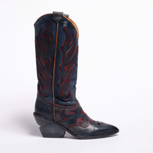 Karen Texan high boot soft calf leather Blue-Bordeaux