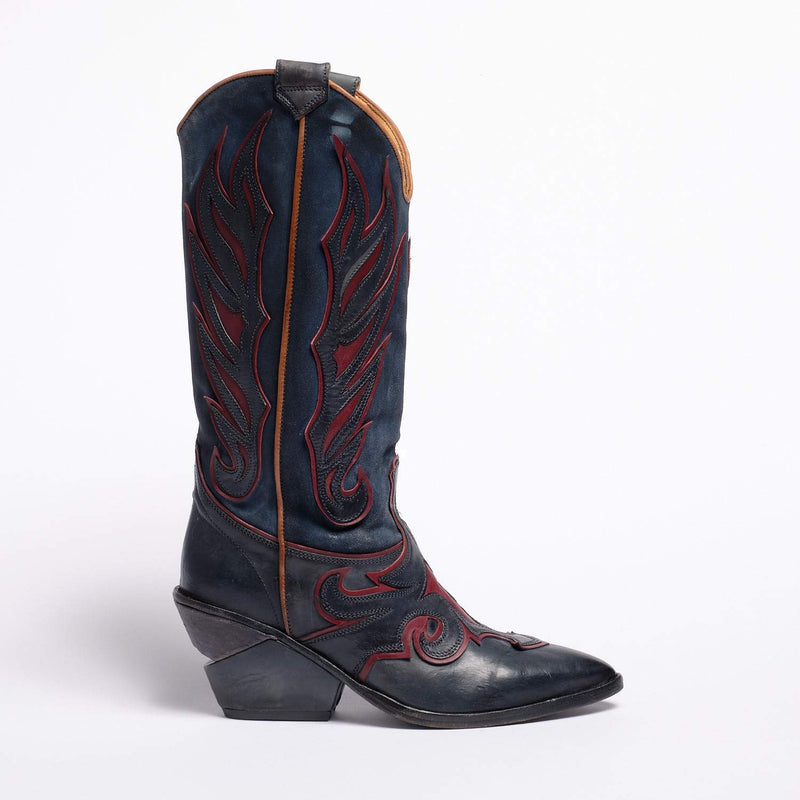 Karen Texan high boot Soft calf leather Bleu-Bordeaux