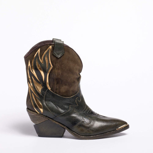 Emmy Texan  boot Soft bufalo leather Green-Gold
