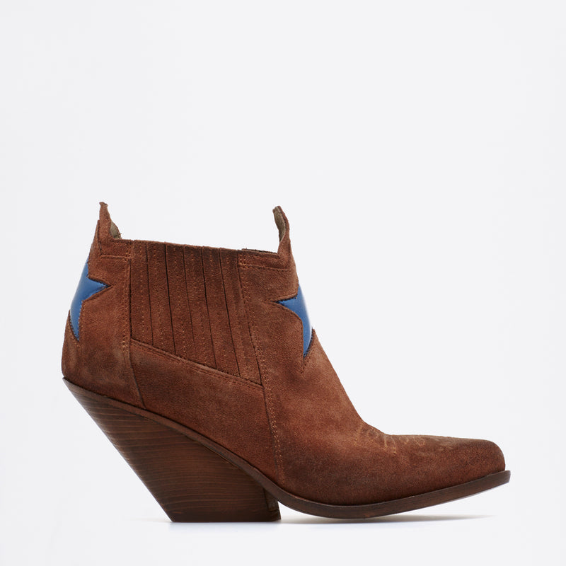 Zoe Texan Boots cognac-electric-blue