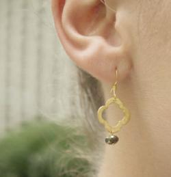 clover with pyrite earring - gray market jewelry