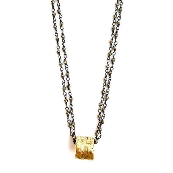 Barrel on Double Oxi  Necklace
