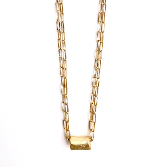 Barrel on Double Gold Necklace