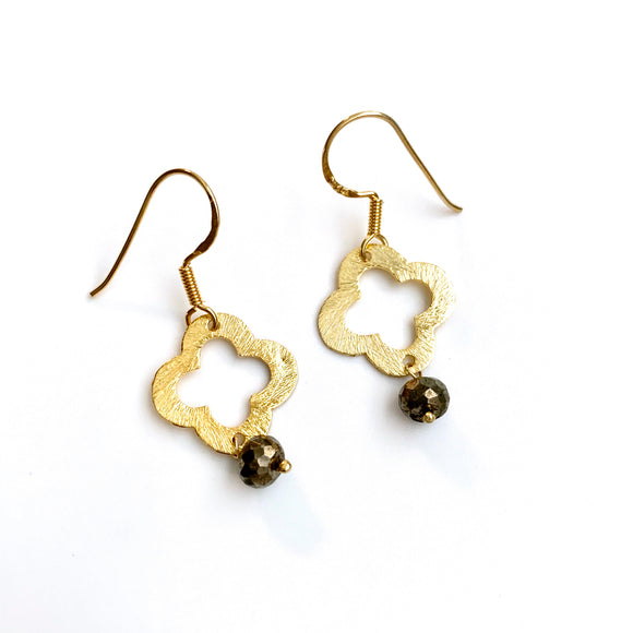 Clover with Pyrite Earring