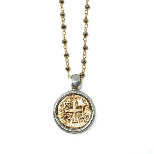 Coin in Gold on Pyrite Necklace