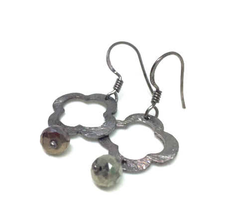 clover with gunmetal pyrite earring