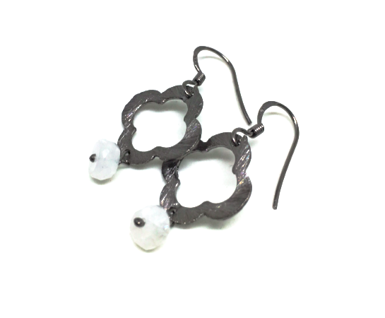 moonstone and gunmetal clover earring - gray market jewelry