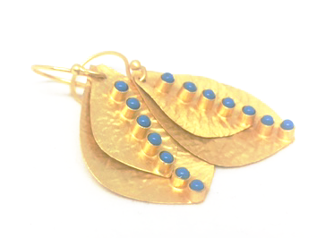 leaf gold and turquoise 2-leaf earring - gray market jewelry