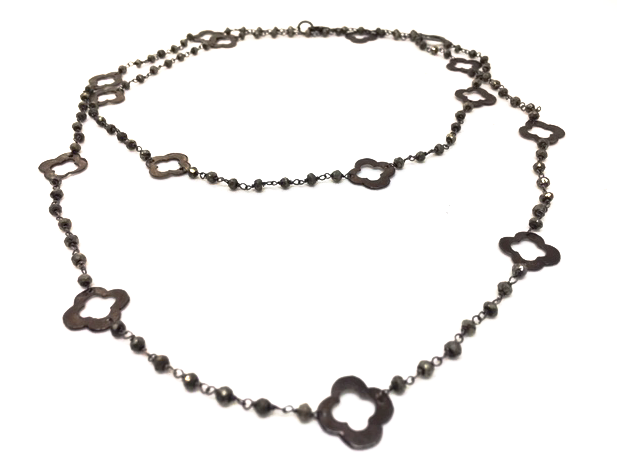 clover in gunmetal necklace - gray market jewelry