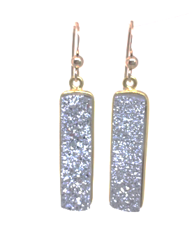 druzy bar drop earring in gray