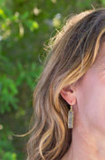 druzy bar drop earring in gray - gray market jewelry