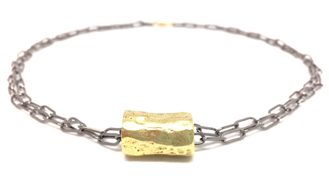 golden barrel double gunmetal necklace