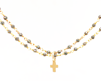 little luxe cross double strand pyrite necklace