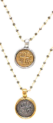 coin in gold on pyrite necklace - gray market jewelry