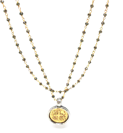coin in gold on pyrite and gold long necklace