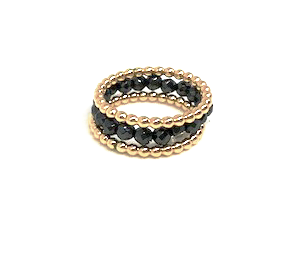 ring stack in mixed metal and gold