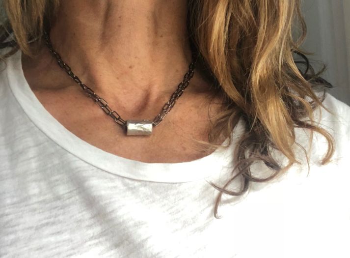 barrel in silver on double gunmetal necklace - gray market jewelry