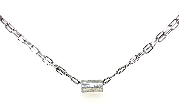 barrel in silver on double gunmetal necklace