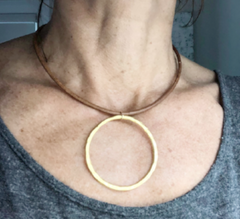 big gold on leather necklace - gray market jewelry