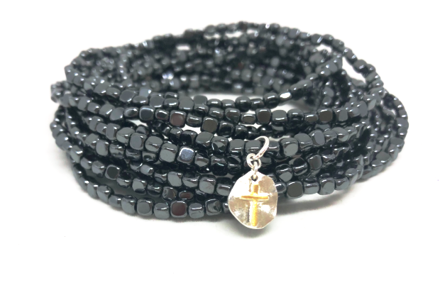 hematite stack in black with tiny cross