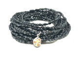 hematite stack in black with tiny cross - gray market jewelry