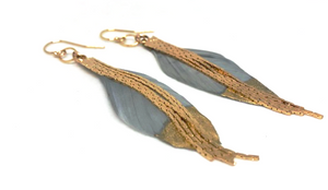 feather earring in gray and gold - gray market jewelry