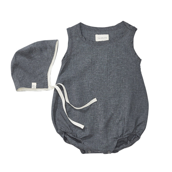 Bubble romper & bonnet charcoal / 3-6m