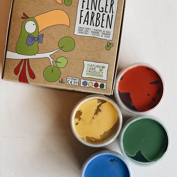 Fingerpaint set Aki red/yellow/green/blue