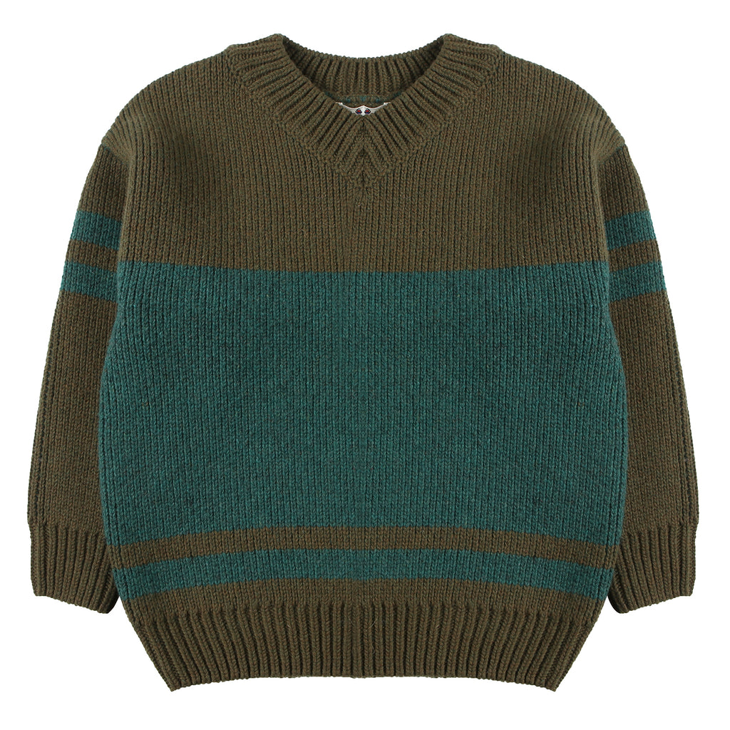 Wool sweater green jacquard