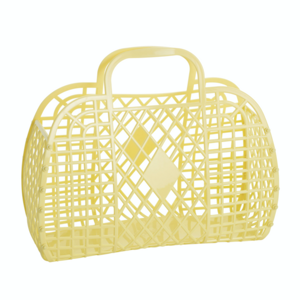 Retro basket small yellow