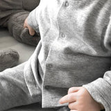 Baby cardigan & footies set light grey
