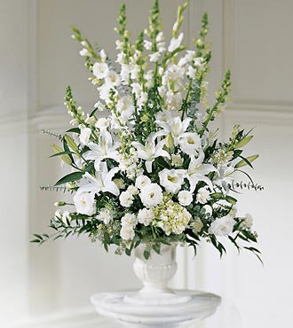 All White Traditional Arrangement | K&M Flowers | Dearborn, Mi