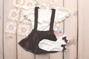 Corduroy Suspender Skirt Set- Sitter Size 9-12 month- Coco-  MADE TO ORDER