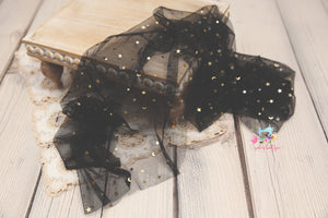 Sheer Mesh Newborn Wraps- Black Moons & Stars- Ready to Ship