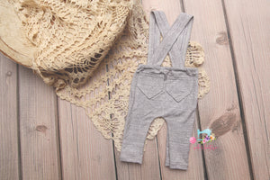 Newborn or Sitter Linen Suspenders- MADE TO ORDER- Soft Grey