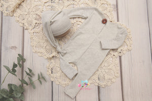Oatmeal Footie Romper and/or sleepy cap- Newborn- MADE TO ORDER