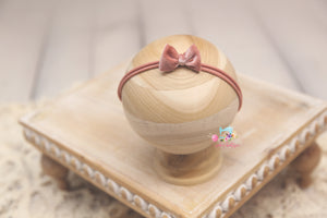 Baby Bow Headband- Made To Order- Pink Mauve Velvet