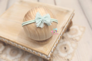 Chiffon Baby Bow Headband- Ready to Ship- Mint