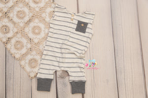 Newborn Boy Cuffed Romper- Grey Stripes- MTO
