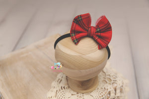 Newborn to Toddler Christmas Baby Bow Headband- Made To Order- Christmas Plaid