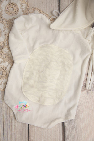 Newborn or Sitter Some Bunnies Bonnet and/or Romper- Ivory Corduroy- MTO