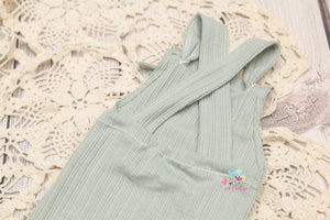 Newborn Knotty Rompers- Sage Pinstripes- MADE TO ORDER