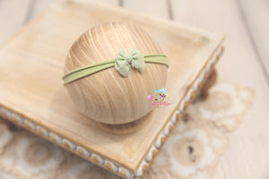 Chiffon Baby Bow Headband- Ready to Ship- Sage