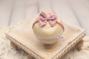 Baby Bow Headband- Made To Order- Pink Baby Hearts