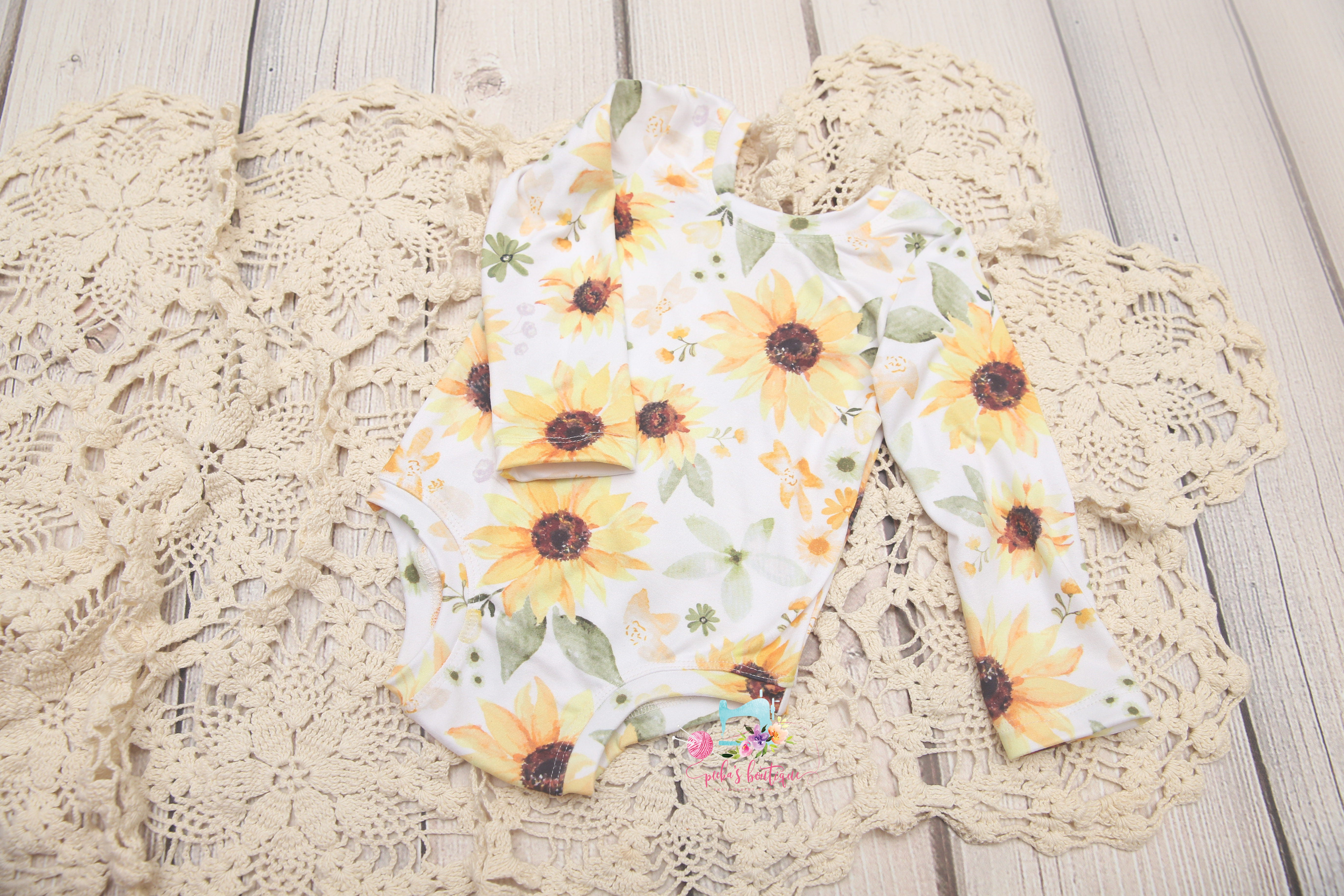 *NEW* Newborn through Sitter/One Year- Emma-Leigh Style Romper and/or Bloomers- *Sunflower Garden*- MADE TO ORDER